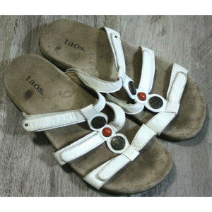 Taos Womens Prize Adjustable White Sandals Size 7